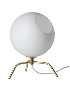 STALINIS ŠVIESTUVAS BUG TABLE BRASS WHITE GLASS