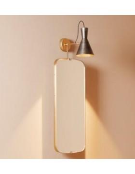Sieninis šviestuvas su veidrodžiu GUARDATI DENTRO VERTICALE žalvarinis